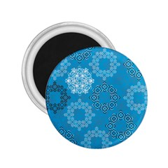 Flower Star Blue Sky Plaid White Froz Snow 2.25  Magnets