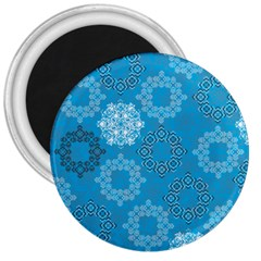 Flower Star Blue Sky Plaid White Froz Snow 3  Magnets by Alisyart