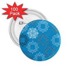 Flower Star Blue Sky Plaid White Froz Snow 2 25  Buttons (100 Pack)  by Alisyart