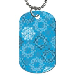 Flower Star Blue Sky Plaid White Froz Snow Dog Tag (two Sides) by Alisyart