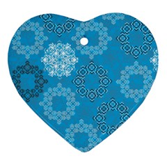 Flower Star Blue Sky Plaid White Froz Snow Heart Ornament (two Sides) by Alisyart
