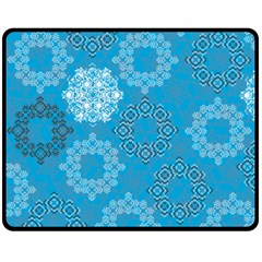 Flower Star Blue Sky Plaid White Froz Snow Fleece Blanket (medium)  by Alisyart