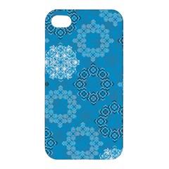 Flower Star Blue Sky Plaid White Froz Snow Apple Iphone 4/4s Premium Hardshell Case by Alisyart