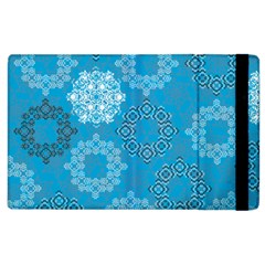 Flower Star Blue Sky Plaid White Froz Snow Apple Ipad 3/4 Flip Case by Alisyart