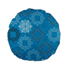 Flower Star Blue Sky Plaid White Froz Snow Standard 15  Premium Round Cushions by Alisyart