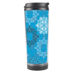 Flower Star Blue Sky Plaid White Froz Snow Travel Tumbler