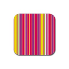 Stripes Colorful Background Rubber Square Coaster (4 Pack)  by Simbadda