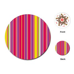 Stripes Colorful Background Playing Cards (round)  by Simbadda