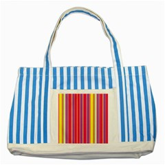 Stripes Colorful Background Striped Blue Tote Bag by Simbadda