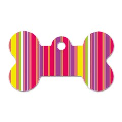 Stripes Colorful Background Dog Tag Bone (two Sides) by Simbadda