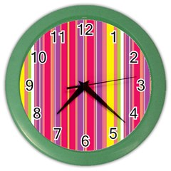 Stripes Colorful Background Color Wall Clocks by Simbadda