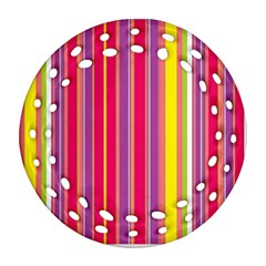 Stripes Colorful Background Ornament (round Filigree) by Simbadda