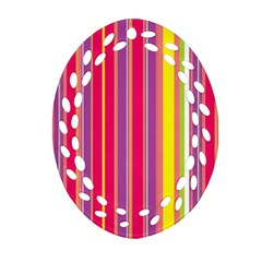 Stripes Colorful Background Oval Filigree Ornament (two Sides) by Simbadda
