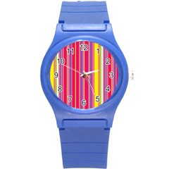 Stripes Colorful Background Round Plastic Sport Watch (s) by Simbadda