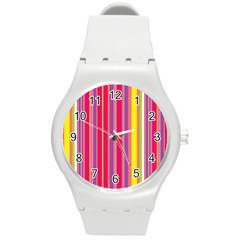 Stripes Colorful Background Round Plastic Sport Watch (m) by Simbadda