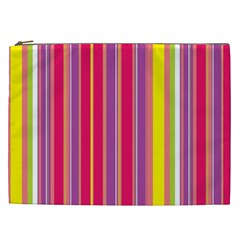 Stripes Colorful Background Cosmetic Bag (xxl)  by Simbadda