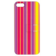 Stripes Colorful Background Apple Iphone 5 Hardshell Case With Stand by Simbadda