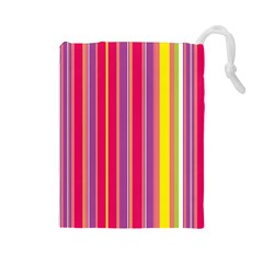 Stripes Colorful Background Drawstring Pouches (large)  by Simbadda