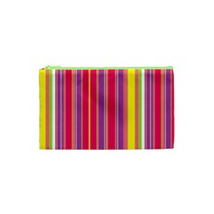 Stripes Colorful Background Cosmetic Bag (xs) by Simbadda