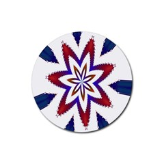 Fractal Flower Rubber Coaster (round)  by Simbadda