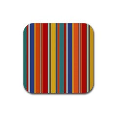 Stripes Background Colorful Rubber Square Coaster (4 Pack)  by Simbadda
