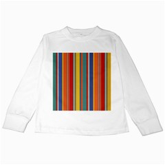 Stripes Background Colorful Kids Long Sleeve T Shirts by Simbadda