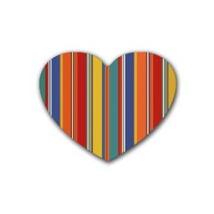 Stripes Background Colorful Heart Coaster (4 Pack)  by Simbadda