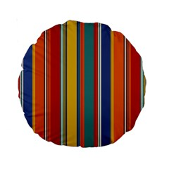 Stripes Background Colorful Standard 15  Premium Round Cushions by Simbadda