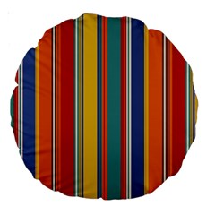 Stripes Background Colorful Large 18  Premium Round Cushions by Simbadda