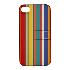 Stripes Background Colorful Apple Iphone 4/4s Hardshell Case With Stand by Simbadda