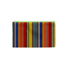 Stripes Background Colorful Cosmetic Bag (xs) by Simbadda