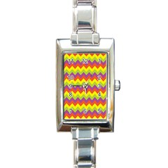 Colorful Zigzag Stripes Background Rectangle Italian Charm Watch by Simbadda
