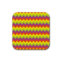 Colorful Zigzag Stripes Background Rubber Square Coaster (4 Pack)  by Simbadda