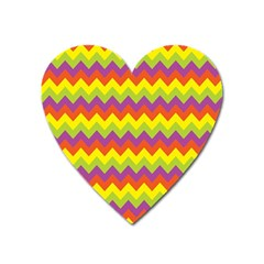 Colorful Zigzag Stripes Background Heart Magnet by Simbadda