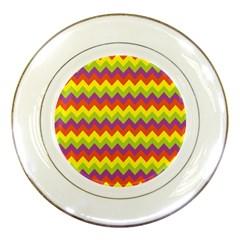 Colorful Zigzag Stripes Background Porcelain Plates by Simbadda