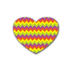 Colorful Zigzag Stripes Background Rubber Coaster (heart)  by Simbadda