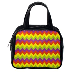 Colorful Zigzag Stripes Background Classic Handbags (one Side) by Simbadda