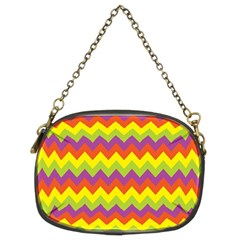 Colorful Zigzag Stripes Background Chain Purses (two Sides)  by Simbadda