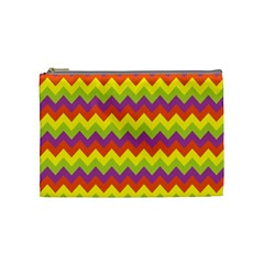 Colorful Zigzag Stripes Background Cosmetic Bag (medium)  by Simbadda