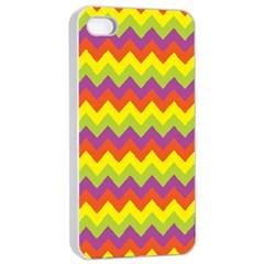 Colorful Zigzag Stripes Background Apple Iphone 4/4s Seamless Case (white) by Simbadda
