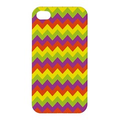 Colorful Zigzag Stripes Background Apple Iphone 4/4s Premium Hardshell Case by Simbadda