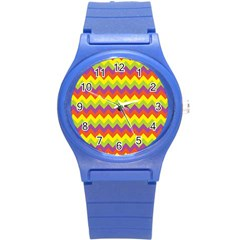 Colorful Zigzag Stripes Background Round Plastic Sport Watch (s) by Simbadda