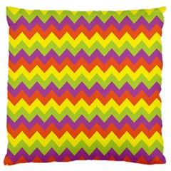 Colorful Zigzag Stripes Background Large Cushion Case (two Sides) by Simbadda