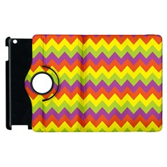 Colorful Zigzag Stripes Background Apple Ipad 2 Flip 360 Case by Simbadda