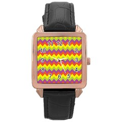 Colorful Zigzag Stripes Background Rose Gold Leather Watch  by Simbadda