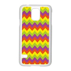 Colorful Zigzag Stripes Background Samsung Galaxy S5 Case (white) by Simbadda