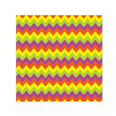 Colorful Zigzag Stripes Background Small Satin Scarf (square)