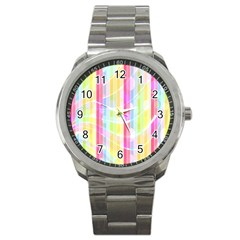 Abstract Stripes Colorful Background Sport Metal Watch by Simbadda