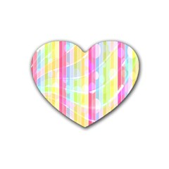 Abstract Stripes Colorful Background Rubber Coaster (heart)  by Simbadda
