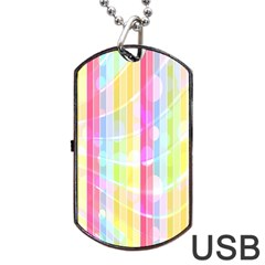 Abstract Stripes Colorful Background Dog Tag Usb Flash (one Side) by Simbadda